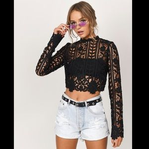 Tobi Style and Crop Black Lace Top